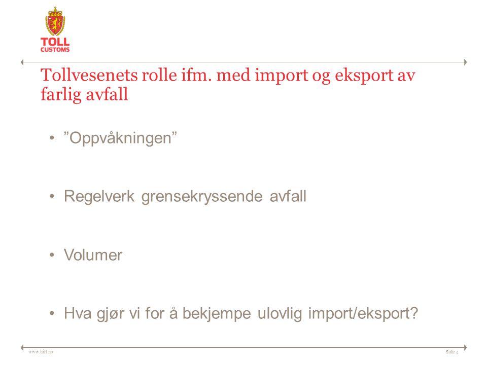 """www.toll.noSide 4 Tollvesenets rolle ifm. med import og eksport av farlig avfall """"Oppvåkningen"""" Regelverk grensekryssende avfall Volumer Hva gjør vi f"""