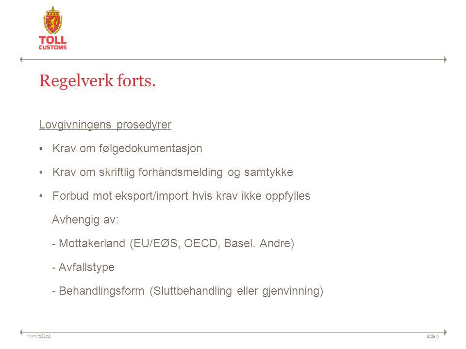www.toll.noSide 9 Regelverk forts. Lovgivningens prosedyrer Krav om følgedokumentasjon Krav om skriftlig forhåndsmelding og samtykke Forbud mot ekspor