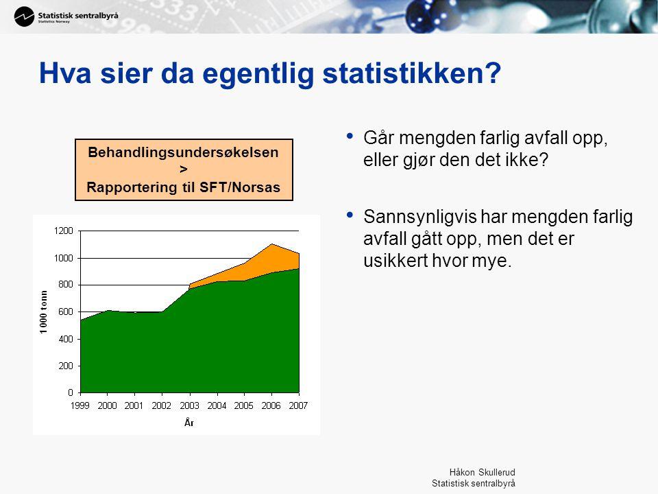 Håkon Skullerud Statistisk sentralbyrå Hva sier da egentlig statistikken? Går mengden farlig avfall opp, eller gjør den det ikke? Sannsynligvis har me