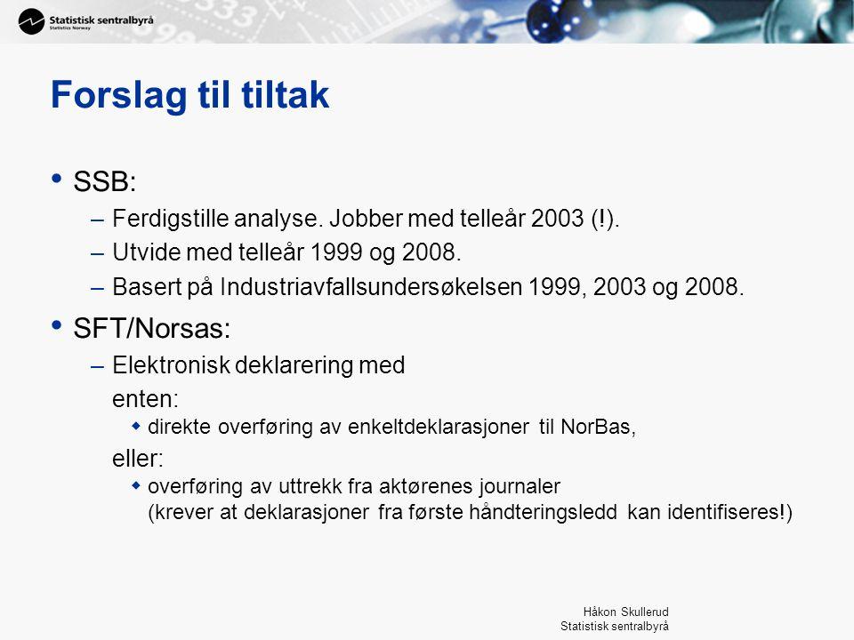Håkon Skullerud Statistisk sentralbyrå Forslag til tiltak SSB: –Ferdigstille analyse. Jobber med telleår 2003 (!). –Utvide med telleår 1999 og 2008. –