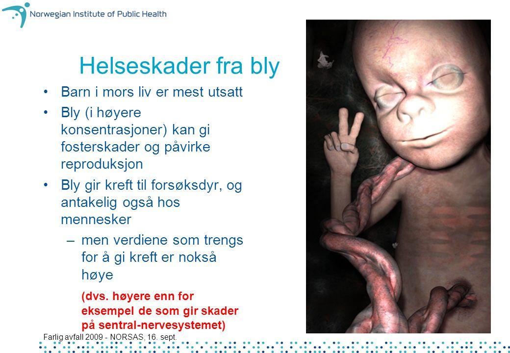 Farlig avfall 2009 - NORSAS, 16. sept. 19 Helseskader fra bly Barn i mors liv er mest utsatt Bly (i høyere konsentrasjoner) kan gi fosterskader og påv