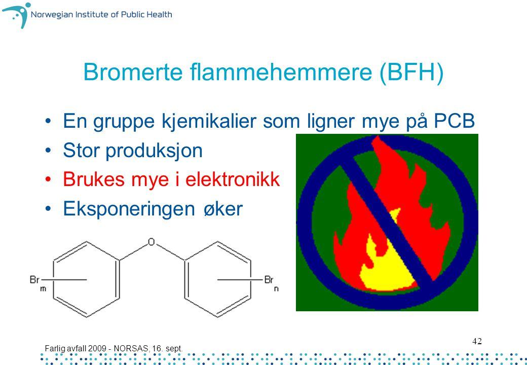 Farlig avfall 2009 - NORSAS, 16. sept. 42 Bromerte flammehemmere (BFH) En gruppe kjemikalier som ligner mye på PCB Stor produksjon Brukes mye i elektr