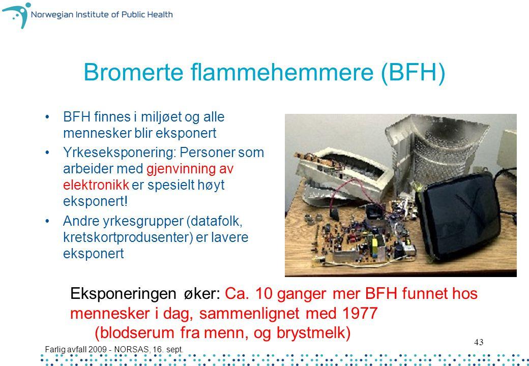 Farlig avfall 2009 - NORSAS, 16. sept. 43 Bromerte flammehemmere (BFH) BFH finnes i miljøet og alle mennesker blir eksponert Yrkeseksponering: Persone