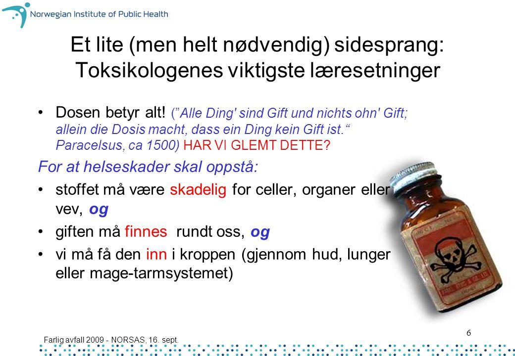 """Farlig avfall 2009 - NORSAS, 16. sept. 6 Et lite (men helt nødvendig) sidesprang: Toksikologenes viktigste læresetninger Dosen betyr alt! (""""Alle Ding'"""