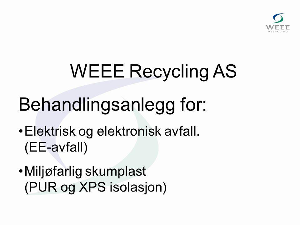 WEEE Recycling AS Behandlingsanlegg for: Elektrisk og elektronisk avfall. (EE-avfall) Miljøfarlig skumplast (PUR og XPS isolasjon)