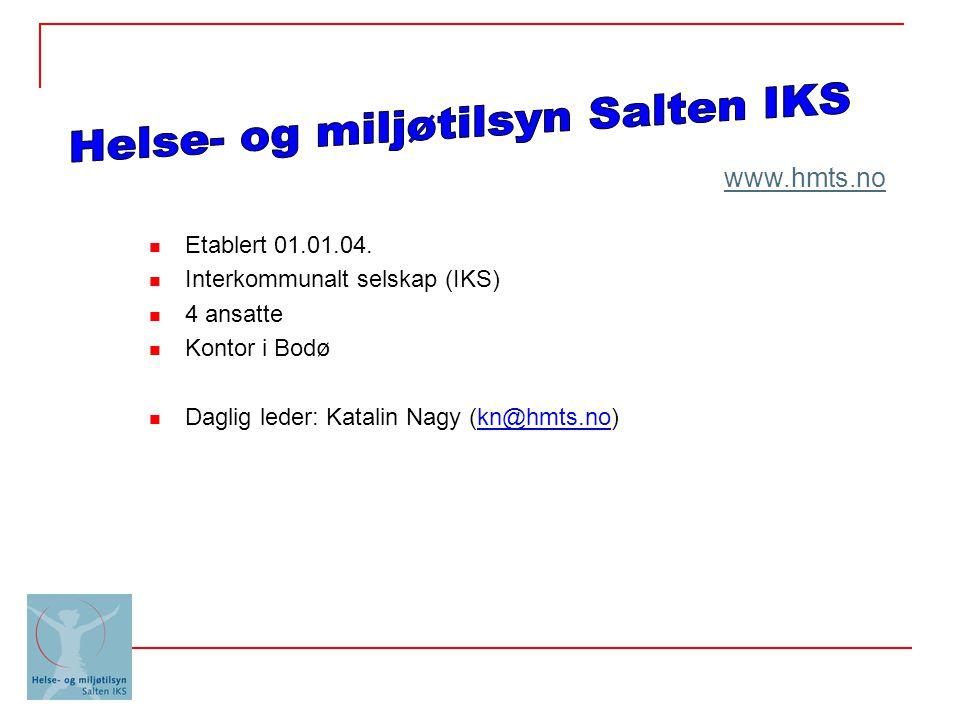 Etablert 01.01.04. Interkommunalt selskap (IKS) 4 ansatte Kontor i Bodø Daglig leder: Katalin Nagy (kn@hmts.no) www.hmts.no