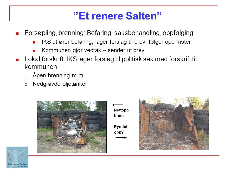 """""""Et renere Salten"""" Forsøpling, brenning: Befaring, saksbehandling, oppfølging: IKS utfører befaring, lager forslag til brev, følger opp frister Kommun"""