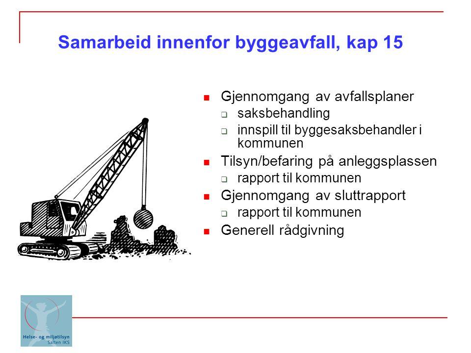 Samarbeid innenfor byggeavfall, kap 15 Gjennomgang av avfallsplaner  saksbehandling  innspill til byggesaksbehandler i kommunen Tilsyn/befaring på a