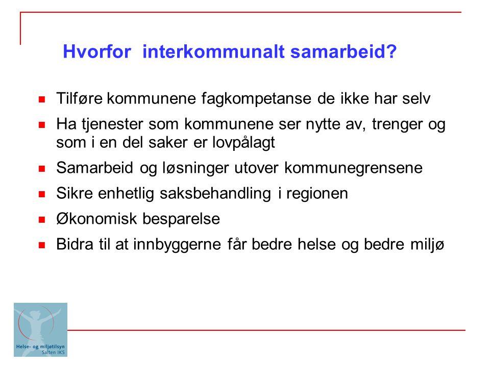 Vertskommune: Saksbehandler i en kommune utfører arbeid for andre kommuner etter egen avtale Interkommunale selskap (IKS) Ulike interkommunale samarbeid