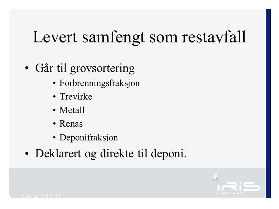 Levert samfengt som restavfall Går til grovsortering Forbrenningsfraksjon Trevirke Metall Renas Deponifraksjon Deklarert og direkte til deponi.