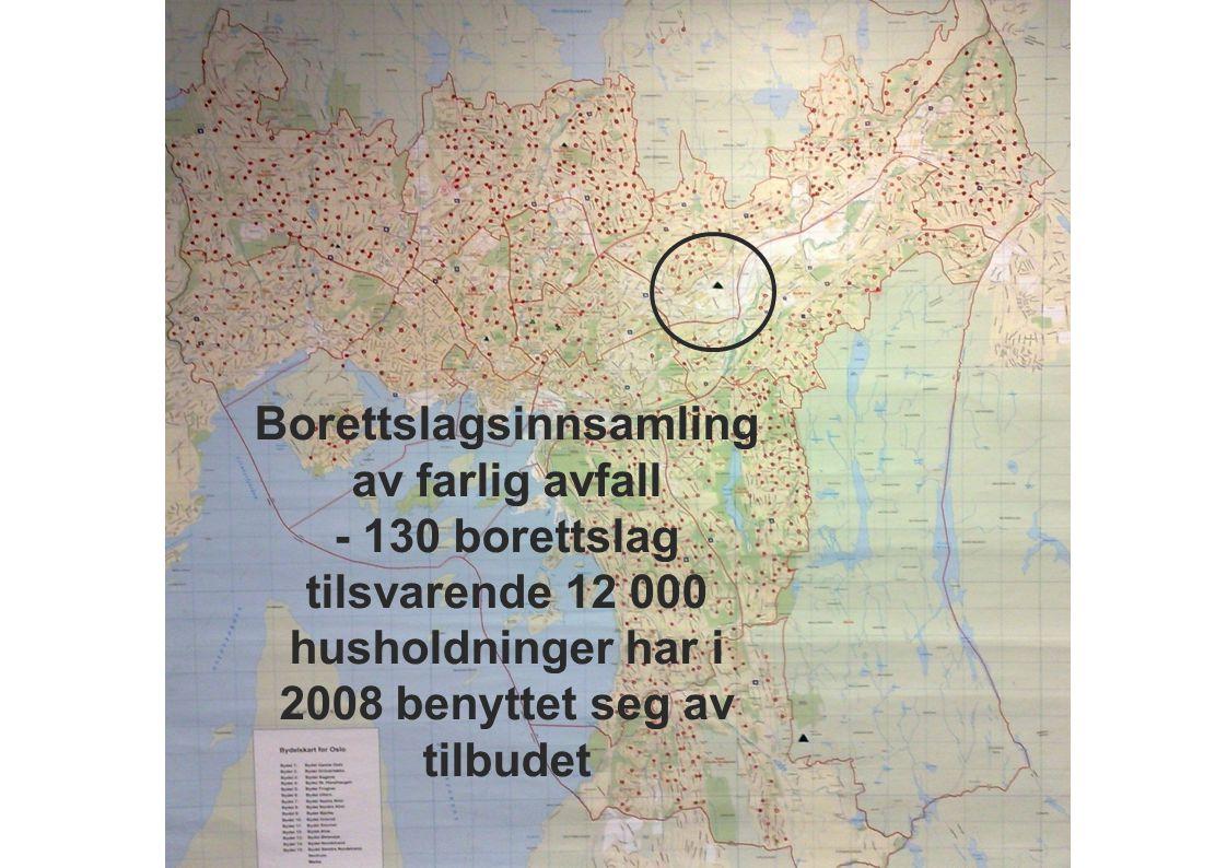 Borettslagsinnsamling av farlig avfall - 130 borettslag tilsvarende 12 000 husholdninger har i 2008 benyttet seg av tilbudet