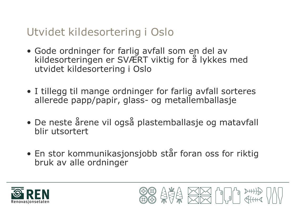 Utvidet kildesortering i Oslo Gode ordninger for farlig avfall som en del av kildesorteringen er SVÆRT viktig for å lykkes med utvidet kildesortering