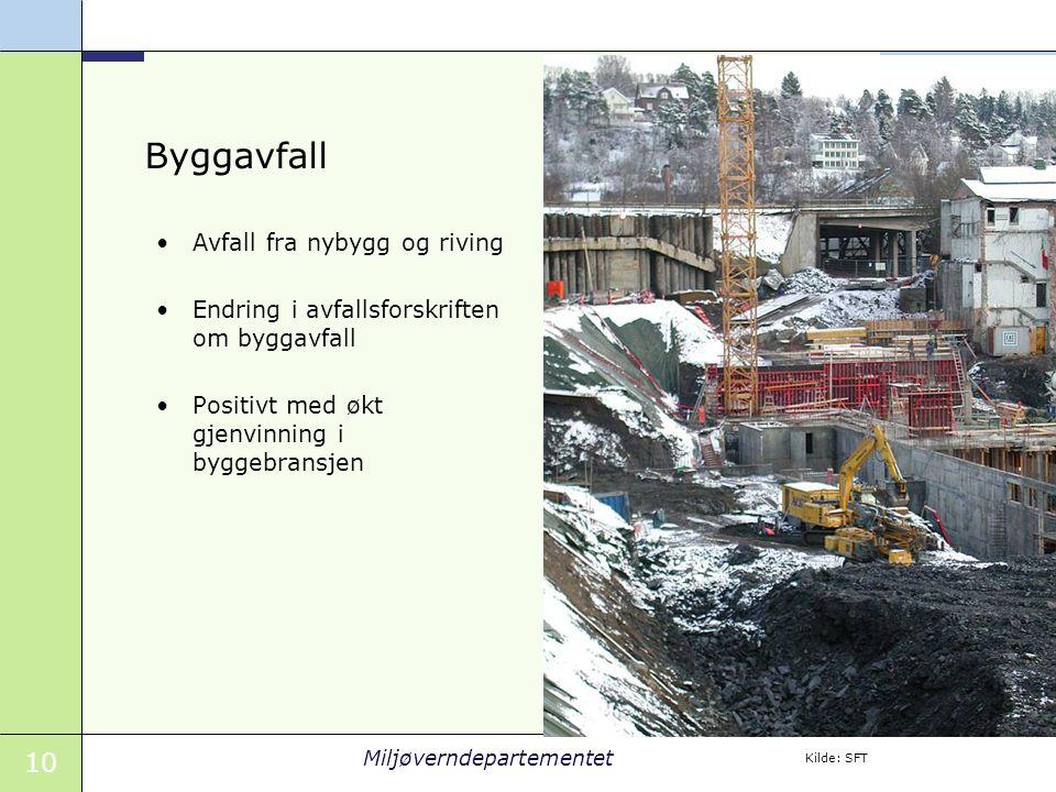 10 Miljøverndepartementet Byggavfall Avfall fra nybygg og riving Endring i avfallsforskriften om byggavfall Positivt med økt gjenvinning i byggebransjen Kilde: SFT