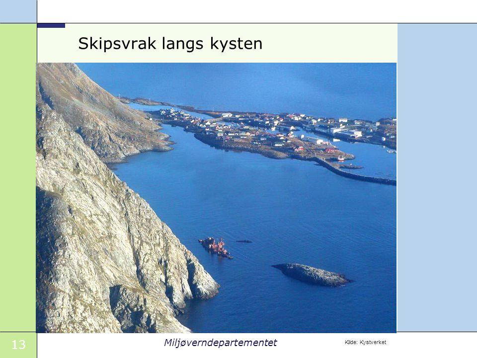 13 Miljøverndepartementet Skipsvrak langs kysten Kilde: Kystverket