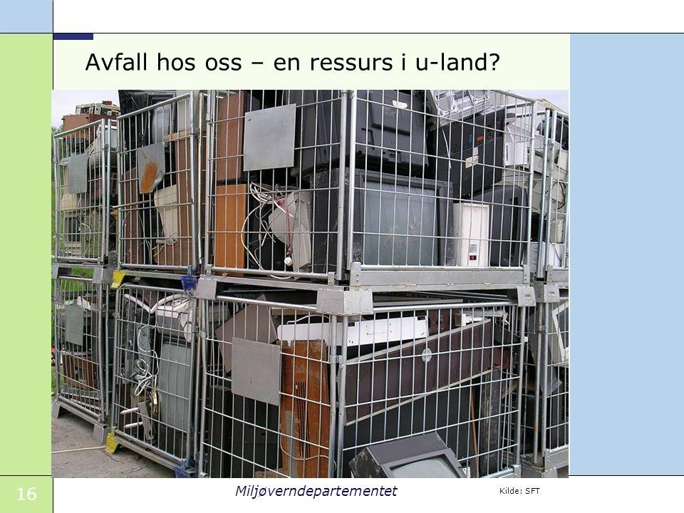 16 Miljøverndepartementet Avfall hos oss – en ressurs i u-land Kilde: SFT