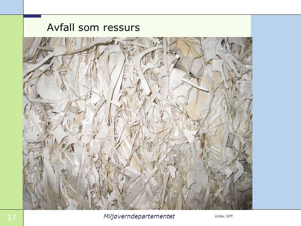17 Miljøverndepartementet Avfall som ressurs Kilde: SFT
