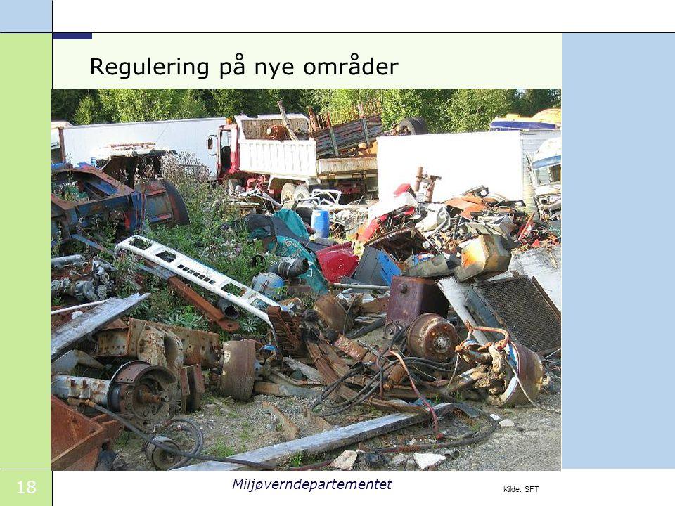 18 Miljøverndepartementet Regulering på nye områder Kilde: SFT