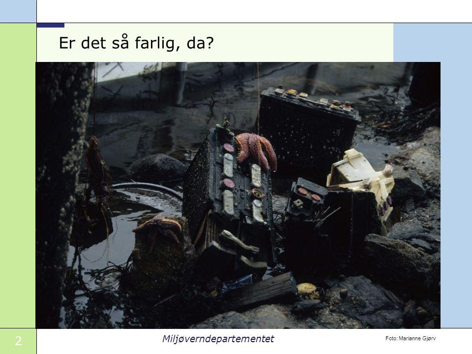 3 Miljøverndepartementet Det er farlig Kilde: SFT 1,1 mill tonn farlig avfall i 2006 88 000 tonn på avveie -Bygg og anlegg -Skip og offshore -Renserier -Elektronikk