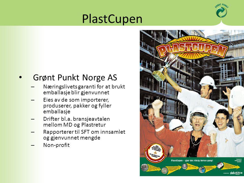 PlastCupen Grønt Punkt Norge AS – Næringslivets garanti for at brukt emballasje blir gjenvunnet – Eies av de som importerer, produserer, pakker og fyller emballasje – Drifter bl.a.