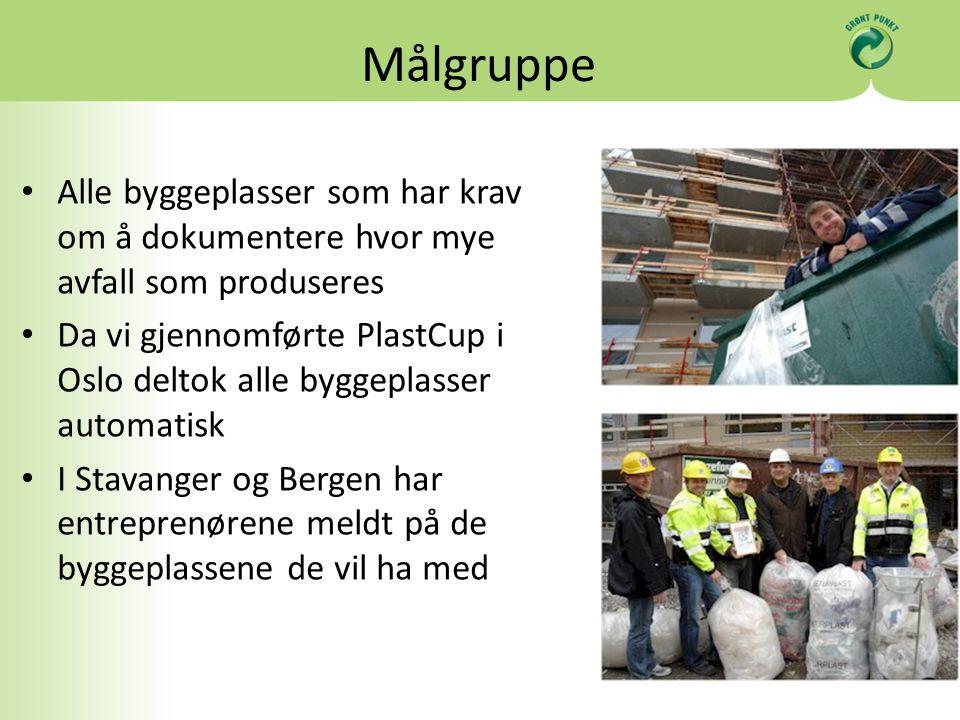 Målgruppe Alle byggeplasser som har krav om å dokumentere hvor mye avfall som produseres Da vi gjennomførte PlastCup i Oslo deltok alle byggeplasser automatisk I Stavanger og Bergen har entreprenørene meldt på de byggeplassene de vil ha med
