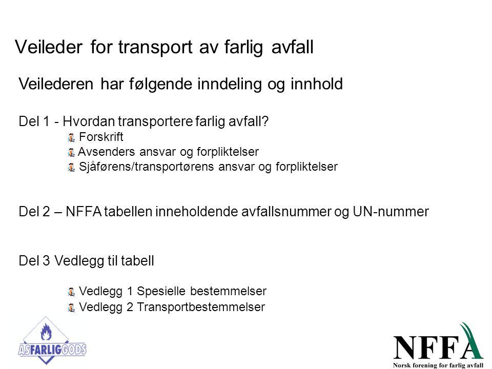 Veileder for transport av farlig avfall Veilederen har følgende inndeling og innhold Del 1 - Hvordan transportere farlig avfall? Forskrift Avsenders a