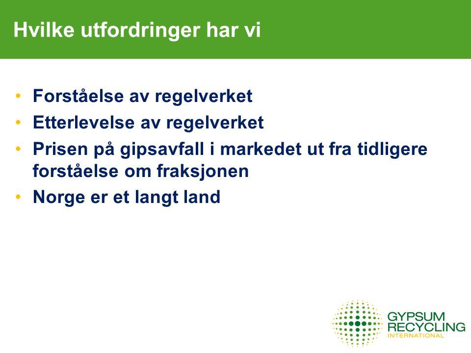 Hvilke utfordringer har vi Forståelse av regelverket Etterlevelse av regelverket Prisen på gipsavfall i markedet ut fra tidligere forståelse om fraksjonen Norge er et langt land