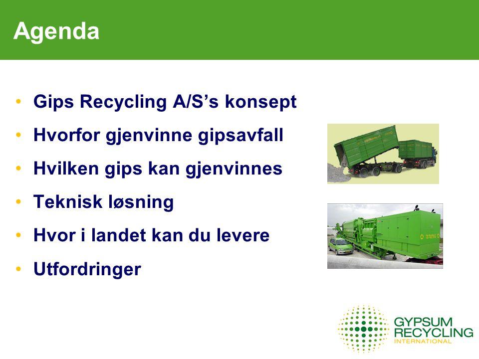 Agenda Gips Recycling A/S's konsept Hvorfor gjenvinne gipsavfall Hvilken gips kan gjenvinnes Teknisk løsning Hvor i landet kan du levere Utfordringer
