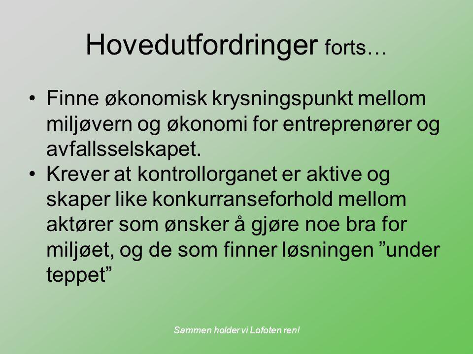 Sammen holder vi Lofoten ren! Hovedutfordringer forts… Finne økonomisk krysningspunkt mellom miljøvern og økonomi for entreprenører og avfallsselskape
