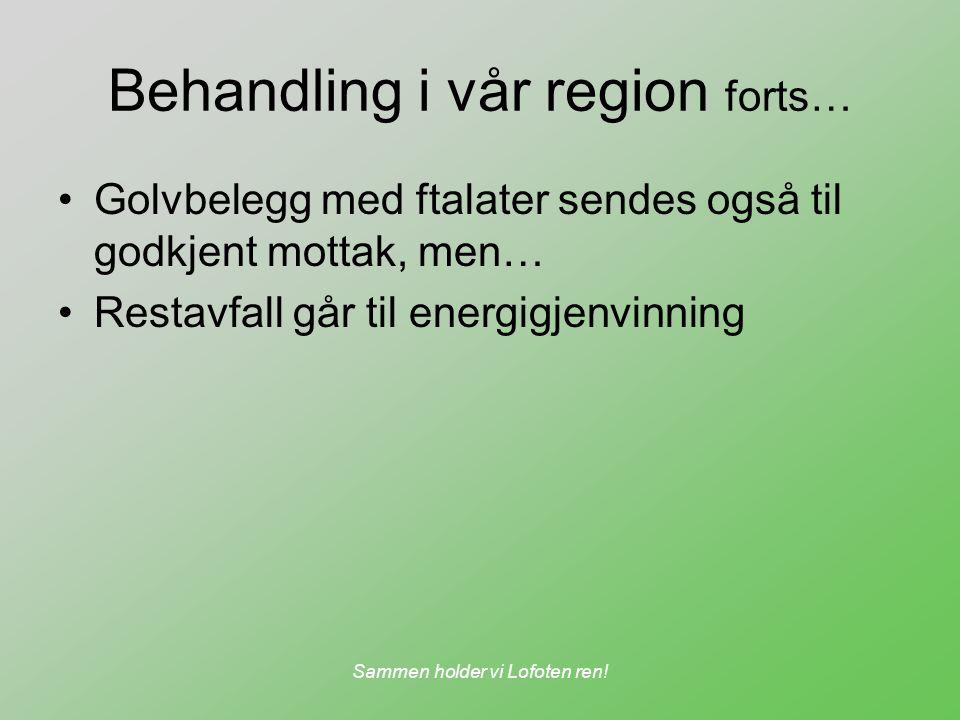 Sammen holder vi Lofoten ren! Behandling i vår region forts… Golvbelegg med ftalater sendes også til godkjent mottak, men… Restavfall går til energigj