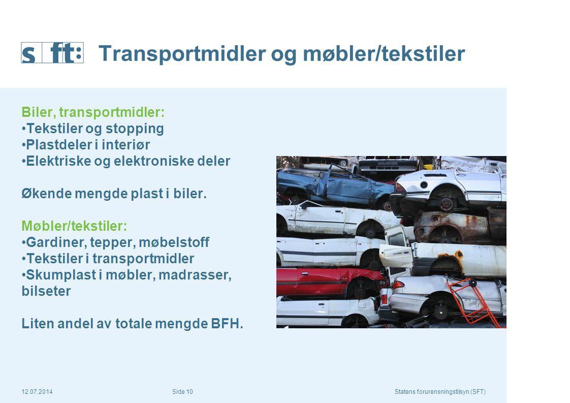 12.07.2014Statens forurensningstilsyn (SFT) Side 10 Transportmidler og møbler/tekstiler Biler, transportmidler: Tekstiler og stopping Plastdeler i int