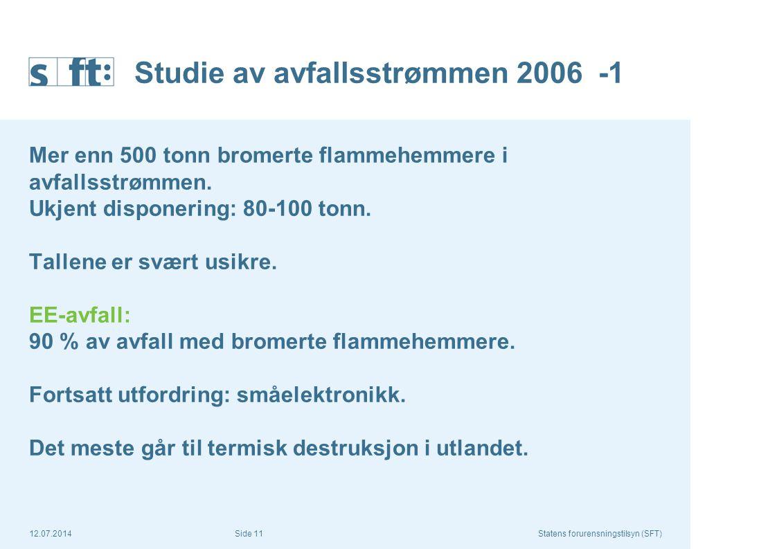 12.07.2014Statens forurensningstilsyn (SFT) Side 11 Studie av avfallsstrømmen 2006 -1 Mer enn 500 tonn bromerte flammehemmere i avfallsstrømmen. Ukjen