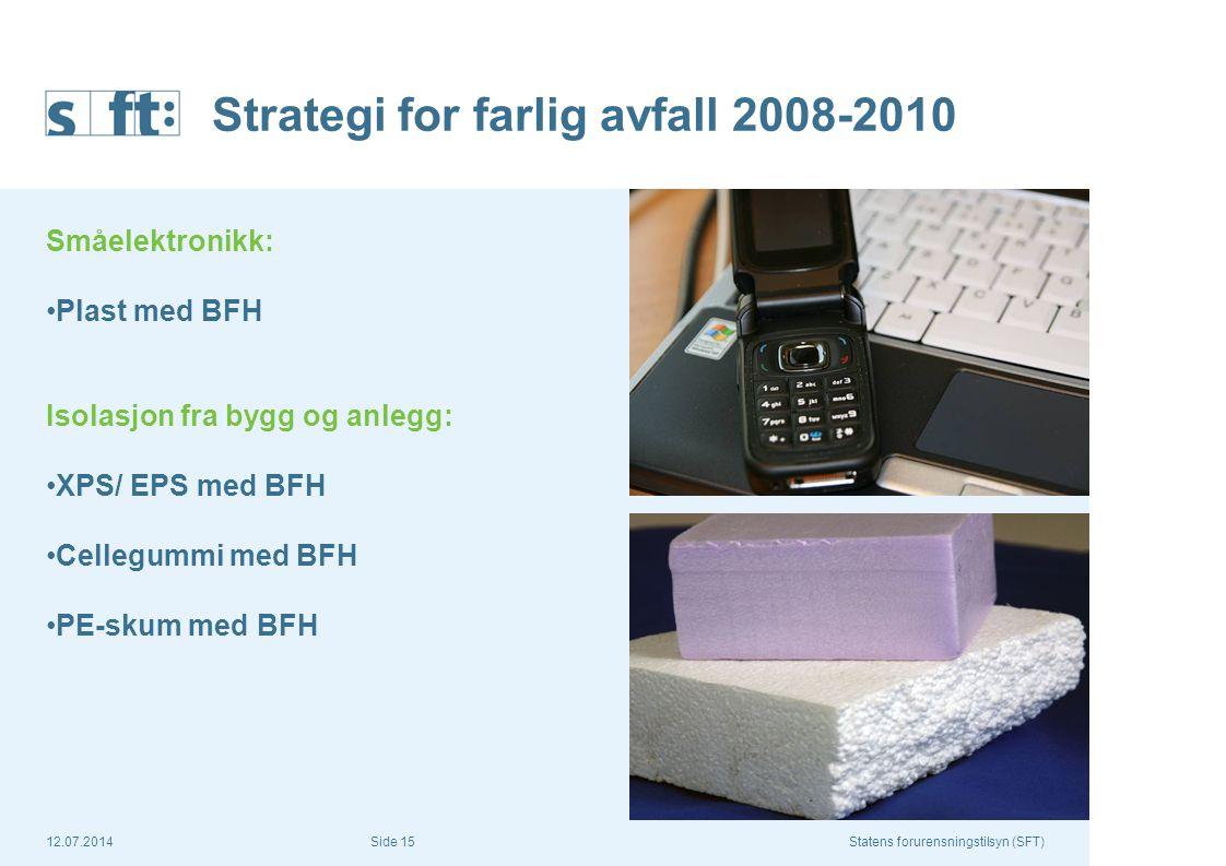 12.07.2014Statens forurensningstilsyn (SFT) Side 15 Strategi for farlig avfall 2008-2010 Småelektronikk: Plast med BFH Isolasjon fra bygg og anlegg: X