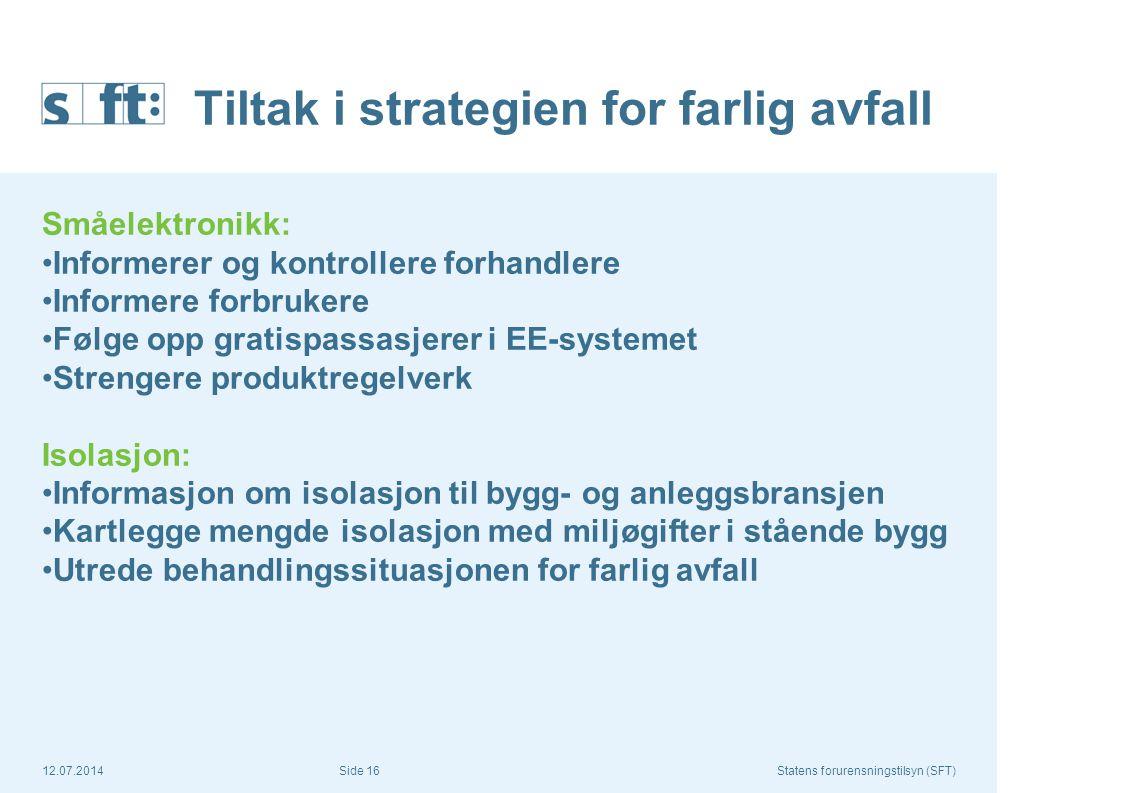 12.07.2014Statens forurensningstilsyn (SFT) Side 16 Tiltak i strategien for farlig avfall Småelektronikk: Informerer og kontrollere forhandlere Inform