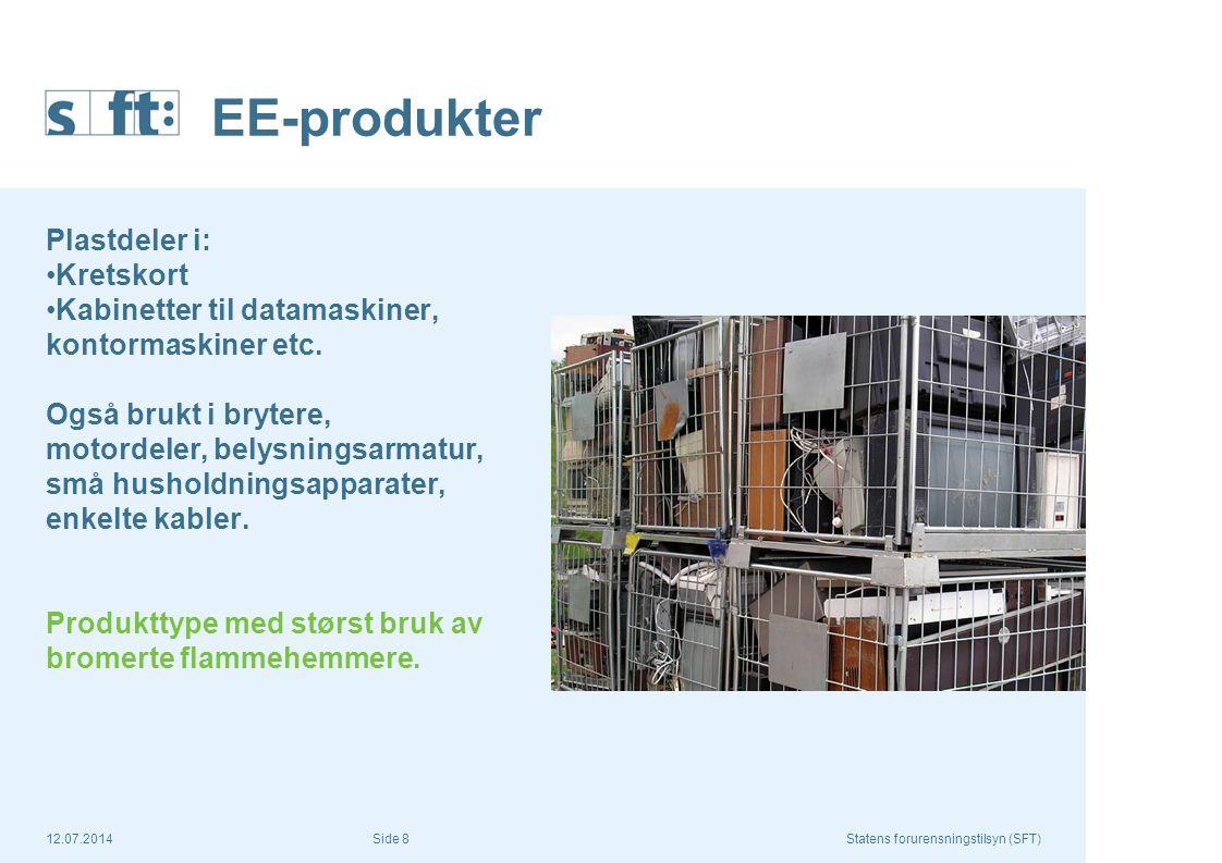12.07.2014Statens forurensningstilsyn (SFT) Side 8 EE-produkter Plastdeler i: Kretskort Kabinetter til datamaskiner, kontormaskiner etc. Også brukt i