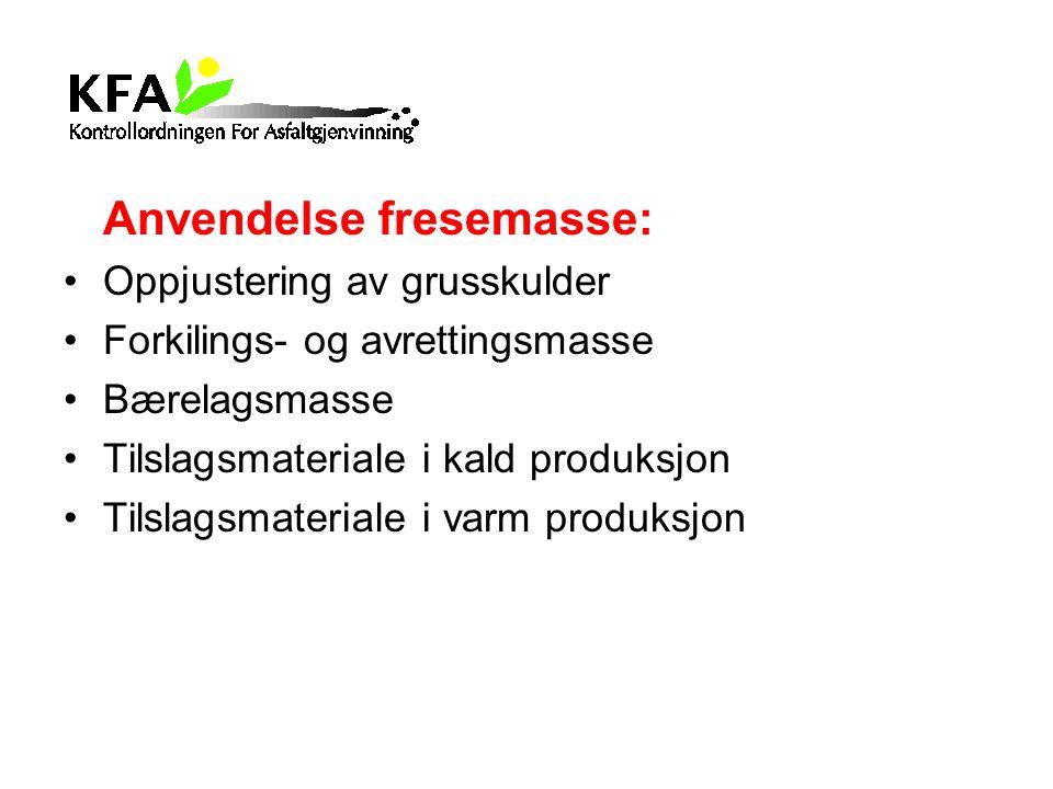 Anvendelse fresemasse: Oppjustering av grusskulder Forkilings- og avrettingsmasse Bærelagsmasse Tilslagsmateriale i kald produksjon Tilslagsmateriale