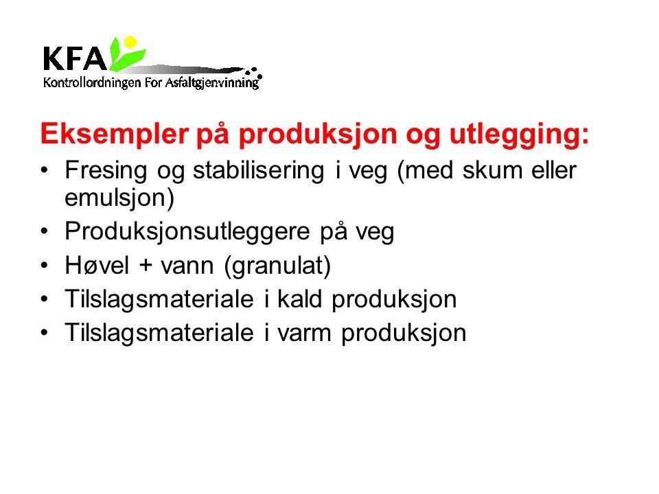Eksempler på produksjon og utlegging: Fresing og stabilisering i veg (med skum eller emulsjon) Produksjonsutleggere på veg Høvel + vann (granulat) Til
