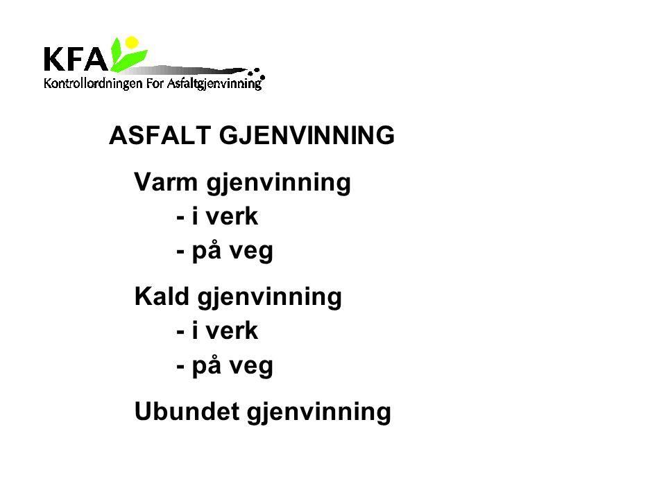 ASFALT GJENVINNING Varm gjenvinning - i verk - på veg Kald gjenvinning - i verk - på veg Ubundet gjenvinning