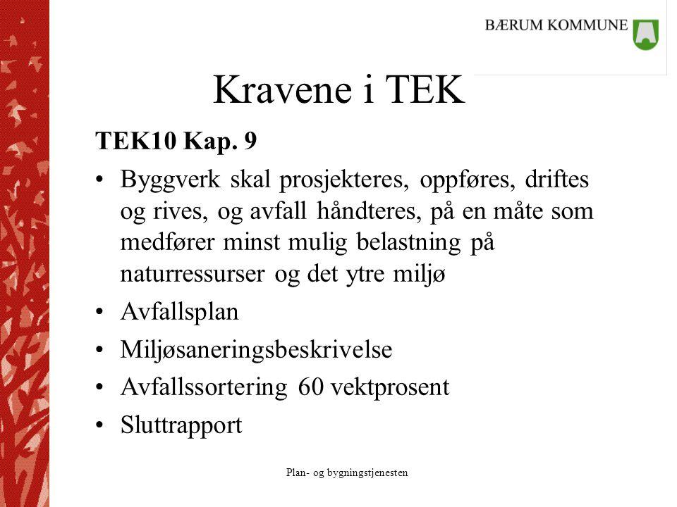 Plan- og bygningstjenesten Kravene i TEK TEK10 Kap. 9 Byggverk skal prosjekteres, oppføres, driftes og rives, og avfall håndteres, på en måte som medf