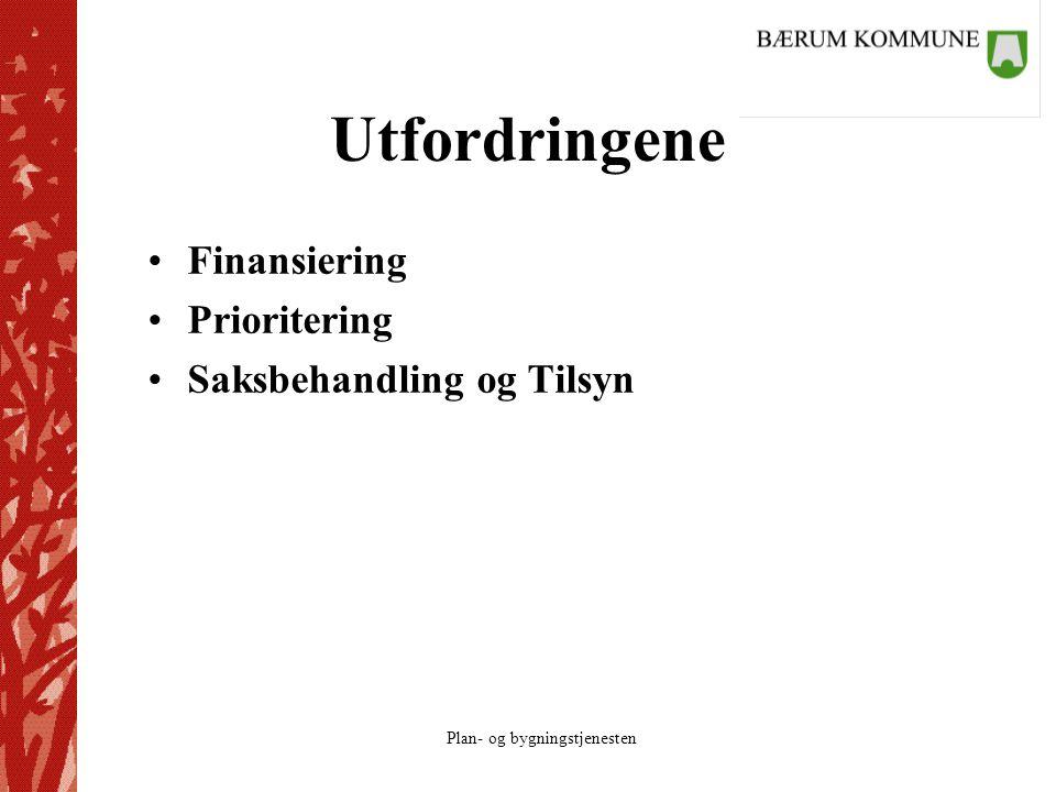 Plan- og bygningstjenesten Utfordringene Finansiering Prioritering Saksbehandling og Tilsyn