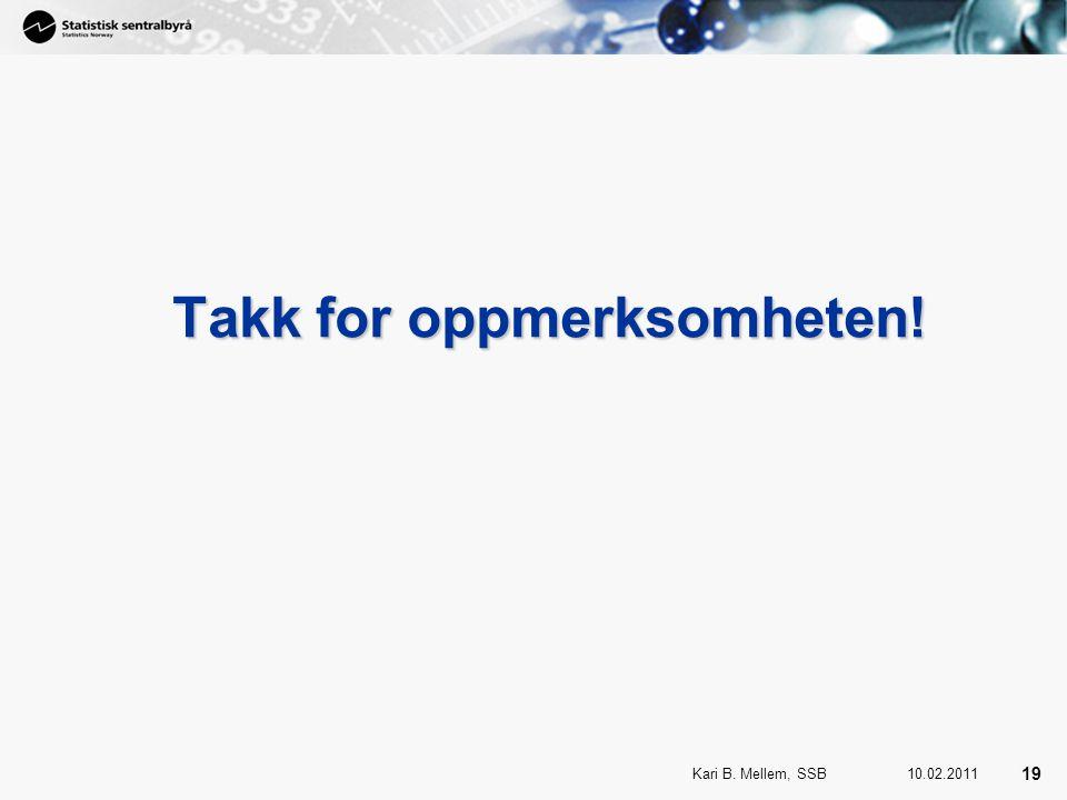 19 Kari B. Mellem, SSB 19 10.02.2011 Takk for oppmerksomheten!