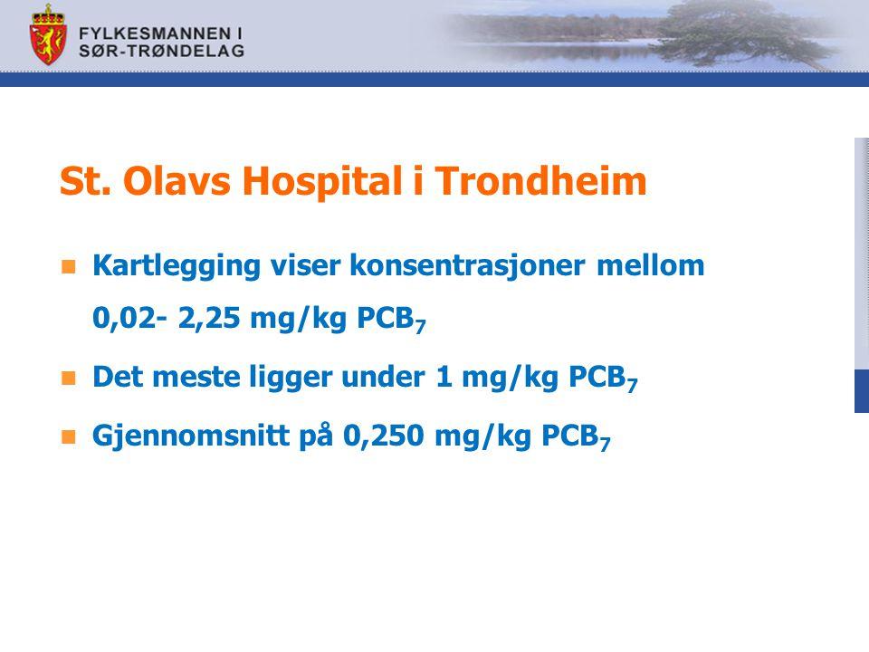 St. Olavs Hospital i Trondheim Kartlegging viser konsentrasjoner mellom 0,02- 2,25 mg/kg PCB 7 Det meste ligger under 1 mg/kg PCB 7 Gjennomsnitt på 0,
