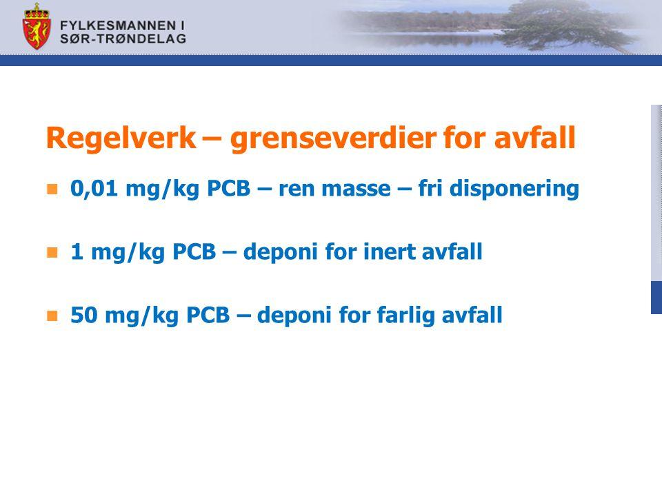 Føringer i annet regelverk Ny veileder: Helsebaserte tilstandsklasser for forurenset grunn TA-2553/2009 Tilstands klasse 12345 PCB mg/kg<0,010,01-0,50,5-11-55-50