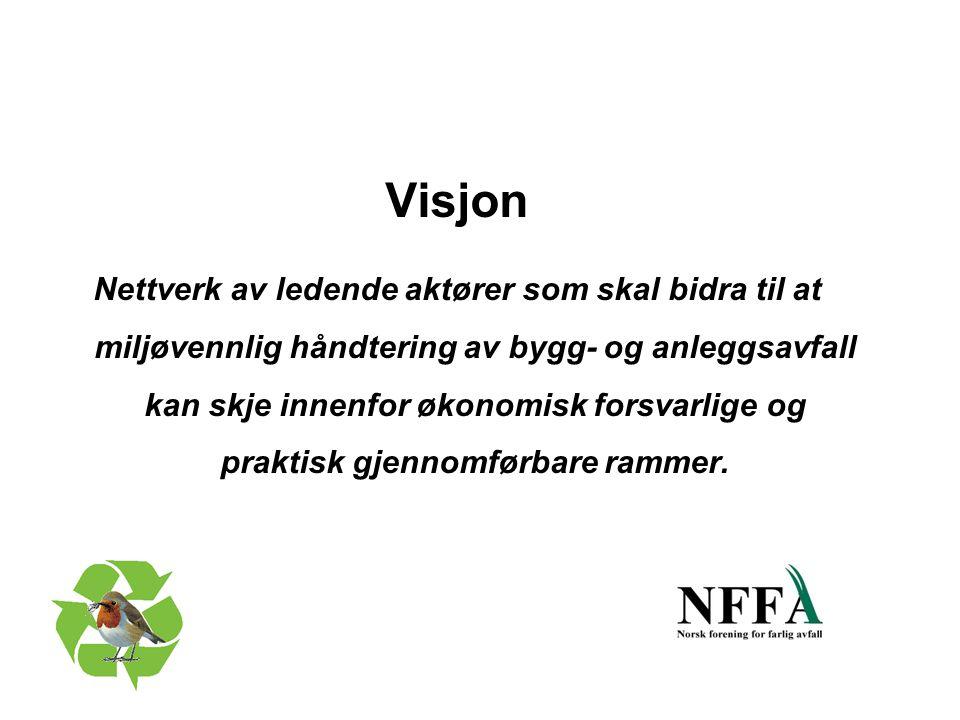 Visjon Nettverk av ledende aktører som skal bidra til at miljøvennlig håndtering av bygg- og anleggsavfall kan skje innenfor økonomisk forsvarlige og praktisk gjennomførbare rammer.