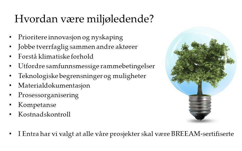 Hvordan være miljøledende? Prioritere innovasjon og nyskaping Jobbe tverrfaglig sammen andre aktører Forstå klimatiske forhold Utfordre samfunnsmessig