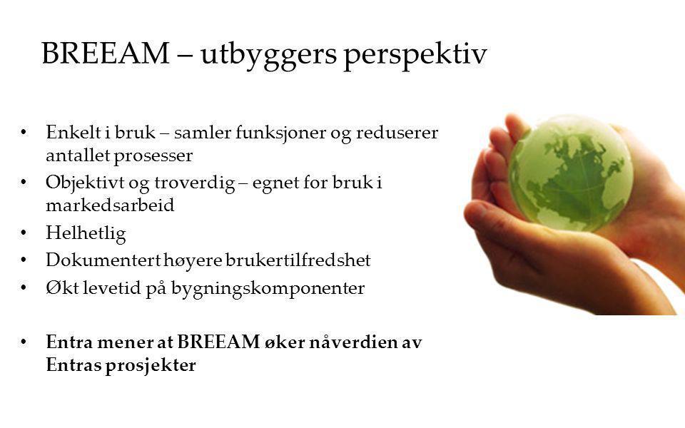 BREEAM – utbyggers perspektiv Enkelt i bruk – samler funksjoner og reduserer antallet prosesser Objektivt og troverdig – egnet for bruk i markedsarbei