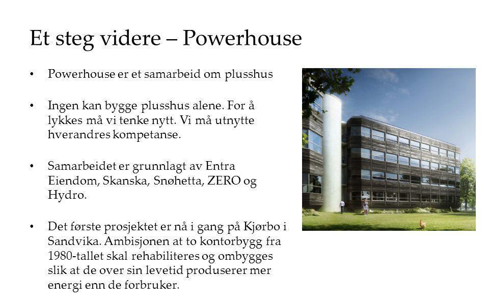 Et steg videre – Powerhouse Powerhouse er et samarbeid om plusshus Ingen kan bygge plusshus alene. For å lykkes må vi tenke nytt. Vi må utnytte hveran