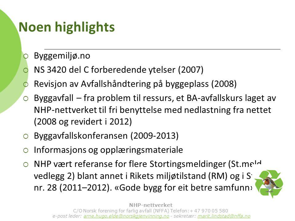 Noen highlights  Byggemiljø.no  NS 3420 del C forberedende ytelser (2007)  Revisjon av Avfallshåndtering på byggeplass (2008)  Byggavfall – fra problem til ressurs, et BA-avfallskurs laget av NHP-nettverket til fri benyttelse med nedlastning fra nettet (2008 og revidert i 2012)  Byggavfallskonferansen (2009-2013)  Informasjons og opplæringsmateriale  NHP vært referanse for flere Stortingsmeldinger (St.meld.