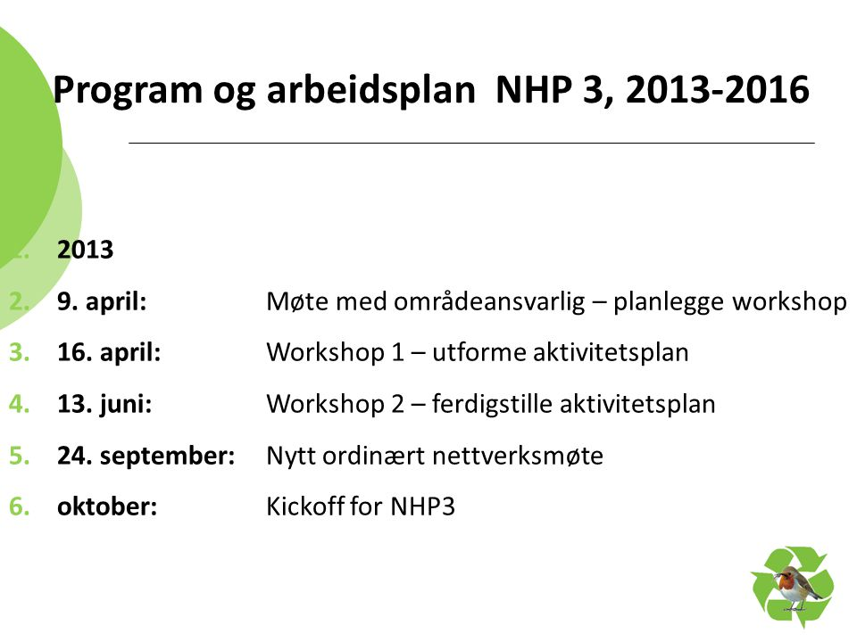 Program og arbeidsplan NHP 3, 2013-2016 1.2013 2.9. april: Møte med områdeansvarlig – planlegge workshop 3.16. april:Workshop 1 – utforme aktivitetspl