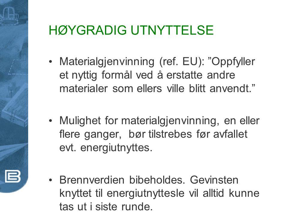 """HØYGRADIG UTNYTTELSE Materialgjenvinning (ref. EU): """"Oppfyller et nyttig formål ved å erstatte andre materialer som ellers ville blitt anvendt."""" Mulig"""
