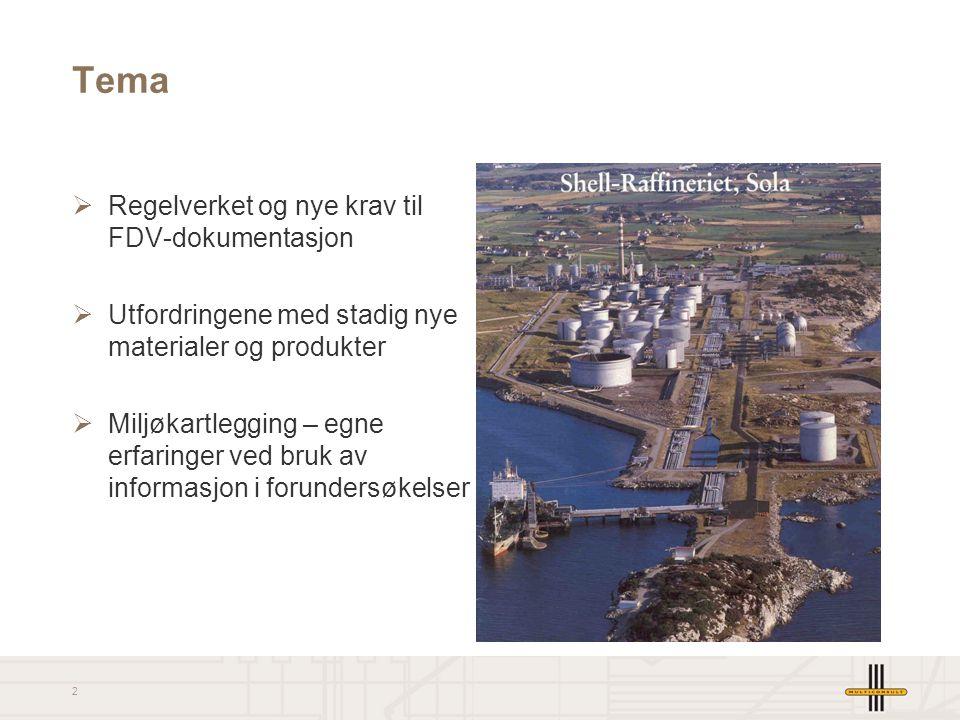 2 Tema  Regelverket og nye krav til FDV-dokumentasjon  Utfordringene med stadig nye materialer og produkter  Miljøkartlegging – egne erfaringer ved